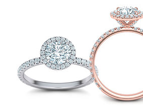 rings 1ct Engagement ring Round halo 3dmodel