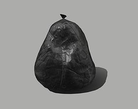 Black Plastic Garbage Bag 3D model