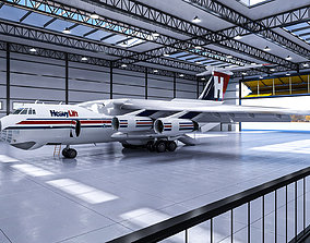 Airplane - Hangar Interior and Exterior Detailed 3D asset