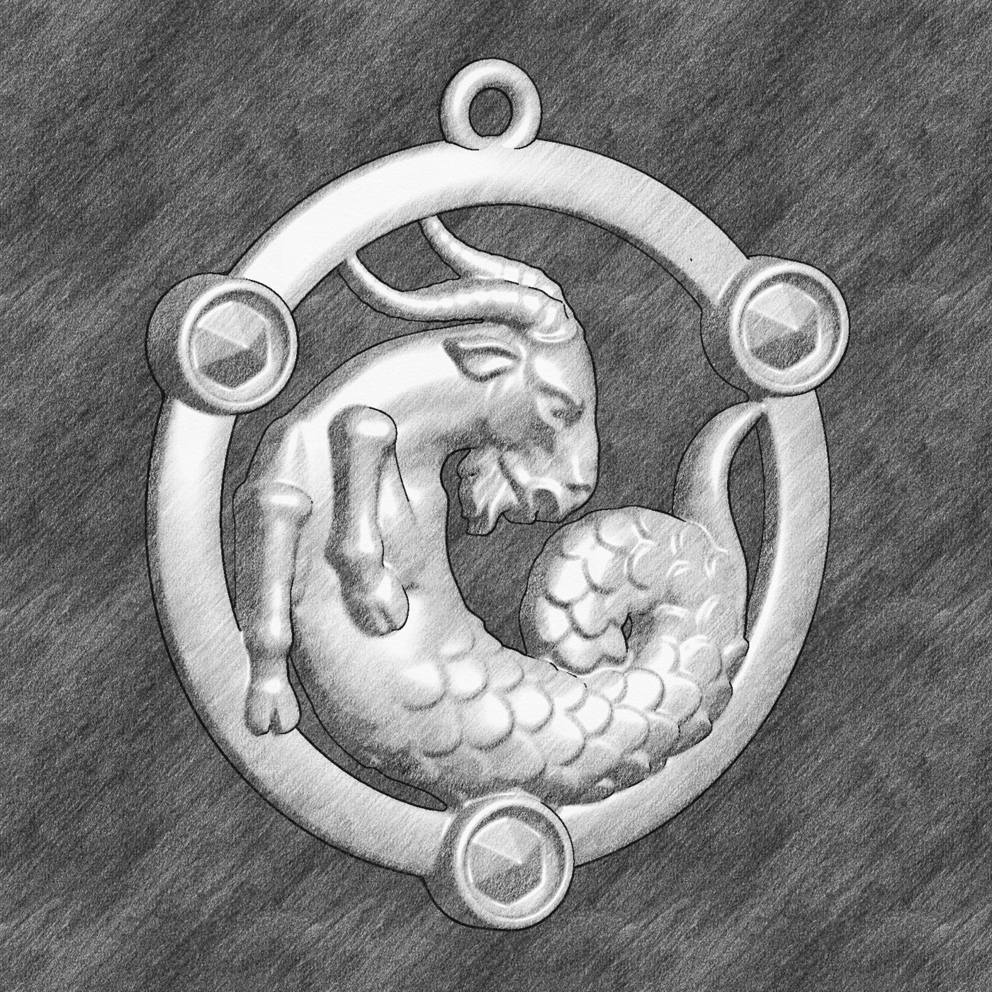 Capricorn Zodiac Horoscope Star medallion Pendant jewelry Gold 3D print model