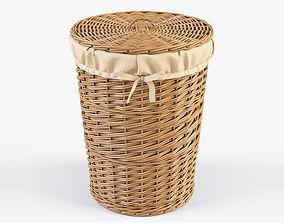 3D model Wicker Laundry Basket 03 Natural Color