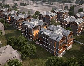 Apartments Development Complex Urban Scene for V-Ray 3D