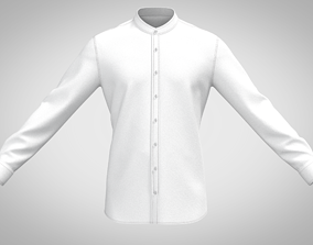 low-poly 3d WHITE STAND COLLAR SHIRT WITH FULL SLEEVE