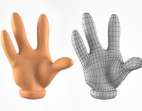 Cartoon Hand with Four Fingers 3D Model low-poly