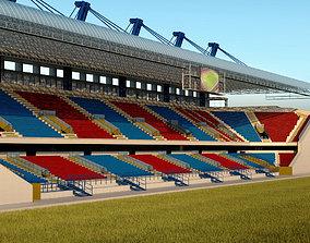 Stadium seating tribune wide high detail 3D model