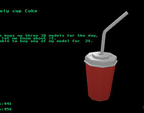 3D asset Low poly cup Coke
