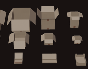 3D model Low Poly Openable Cardboard Box Pack