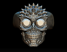 3D printable model Punk skull ring