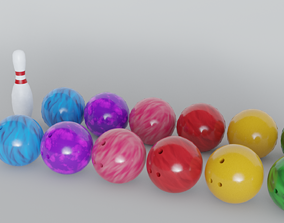 Bowling Ball and Pin - HighPoly and LowPoly 3D asset
