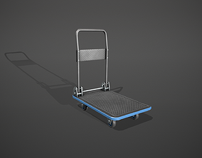 3D model Folding Platform Truck Trolley - Blue Accents