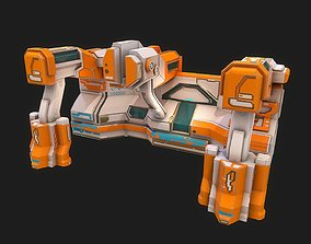3D model Low poly sci fi laboratory wall structure