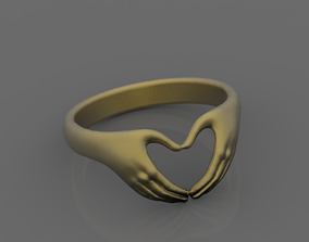 3D printable model jewelry ring hand