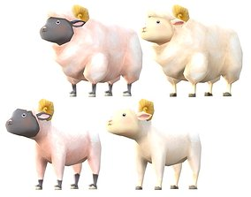 Lowpoly Animal Cartoon - Sheep 3D asset