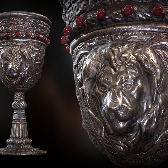 The Old Goblet with lion design and red stones