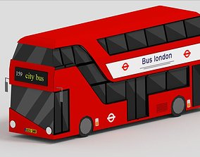 3D asset low-poly Bus of London Low Poly