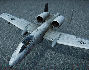 Low Poly PBR A-10 Tank Buster 3D model game-ready