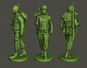 3D printable model American soldier ww2 walking A5