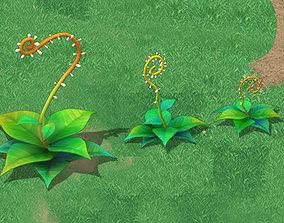 Cartoon version - moving tentacles grass 3D model