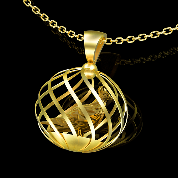 Dove Pendant jewelry Gold 3D print model