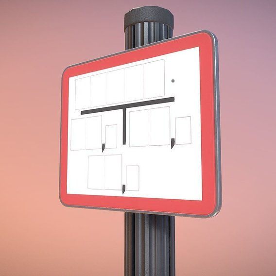 Low-poly sign for hydrant red with post and frame