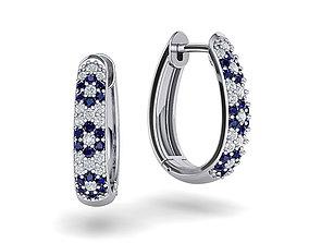 sapphire-earring Diamond Hoop earrings 3dmodel