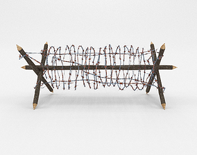 obstacle 3D asset Lowpoly Barb Wire Obstacle