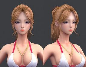 3D model Cartoon polygon hair 02 woman