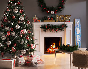 Christmas winter decoration set room 3D