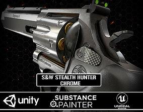 3D asset Revolver Stealth Hunter Chrome