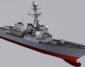 USS Winston S Churchill and Sikorsky SH 60 3D model