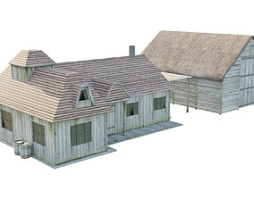 Old House exterior 3D asset low-poly