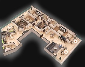 architectural 3d apartment floorplan