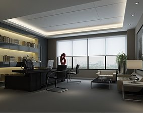 3D asset full modern office room scene