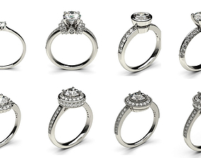 The Set of New 24 Diomand Ring 3d Model rings