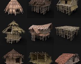 3D model BUILDER JUNGLE TRIBAL HUTS HOUSES PACK AAA 1