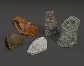 3D model Low Poly Rock 5-pack
