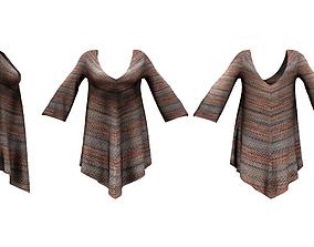 3D asset Long Sleeve Hem Triangle Dress