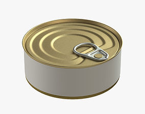3D model canned food round tin metal aluminium can 07