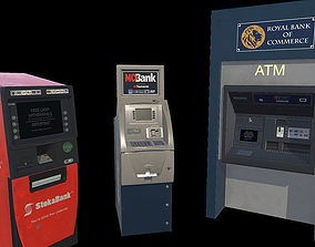 3D asset ATM Bank Machine set of 3