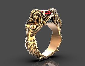 silver 3D printable model Mermaid ring