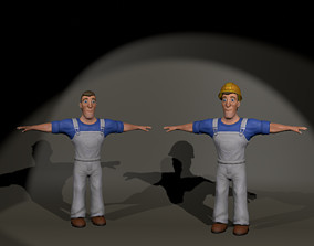 3D model Low poly Workman unity unreal engine