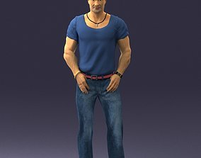 Strong man in a blue t-shirt and jeans 0090 3D Print