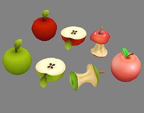 Cut apples - Apple core- Red apple - Green apple 3D asset