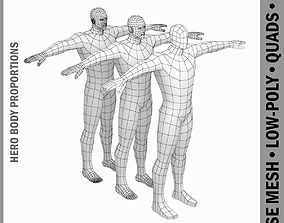 Male Hero Low Poly Base Mesh in T-Pose 3D asset