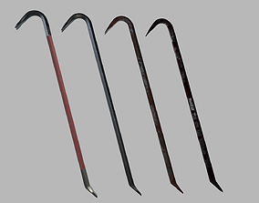 4 Different Style Crowbars 3D model