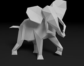 elephant low poly origami 3D print model