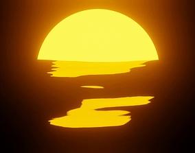 Ocean Sunset Scene EEVEE 3D model