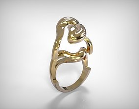 3D print model Jewelry Golden Ring Leave Shaped