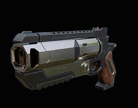 3D asset low-poly SciFi Pistol