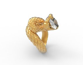 woman 3D print model Snake Ring